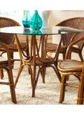 Greece Indoor Rattan & Wicker Round Dining Table in Natural Finish with 42